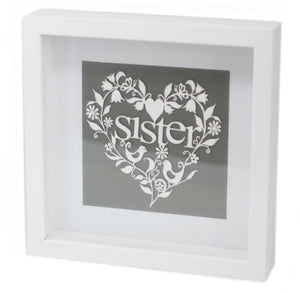 Paper Cutout White Picture Frame - Sister