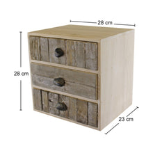 Load image into Gallery viewer, 3 Drawer Unit, Driftwood Effect Drawers With Pebble Handles