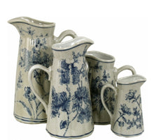 Load image into Gallery viewer, Set of 4 Ceramic Jugs, Vintage Blue & White Magnolia Design