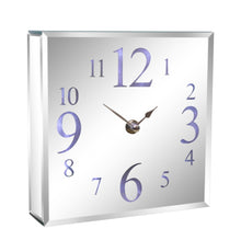 Load image into Gallery viewer, Led Light Up Square Mirrored Silver Glass Contemporary Wall Or Mantel Clock 18cm.