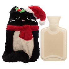 Load image into Gallery viewer, Cute Christmas Feline Festive Cat 1L Hot Water Bottle and Cover