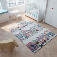 Load image into Gallery viewer, HAPPY Kids Short Pile 'Village' Rug - Colourful Cream