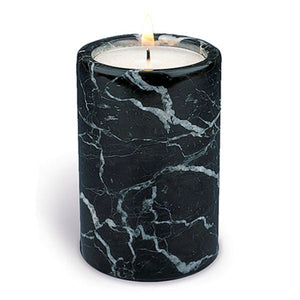 Tall Black Marble Tealight Holder