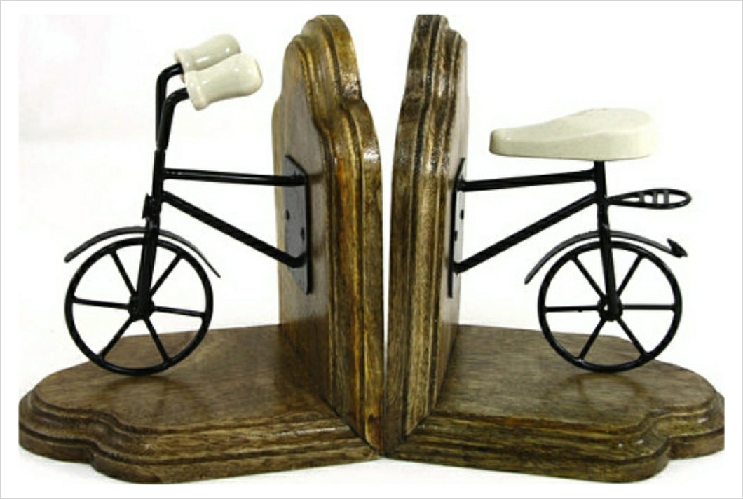 Pair of wooden and metal bookends.
