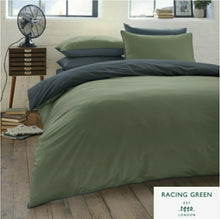 "Load image into Gallery viewer, RACING GREEN ""COLBURN"" - 100% BRUSHED COTTON DUVET COVER SET Racing Green/Navy"