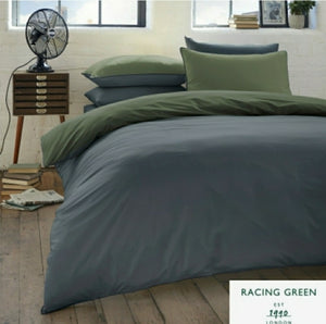 "RACING GREEN ""COLBURN"" - 100% BRUSHED COTTON DUVET COVER SET Racing Green/Navy"