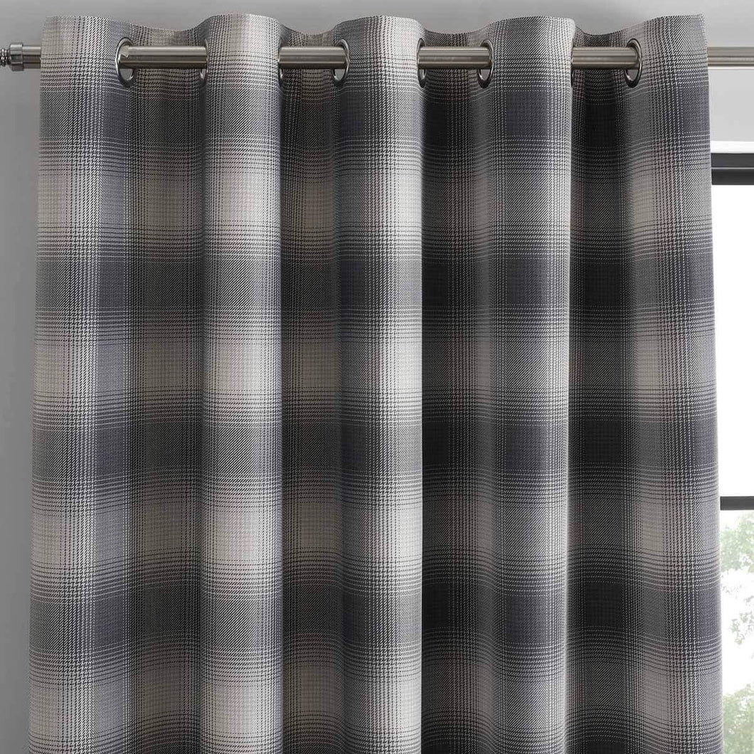 Grey Lincoln Check -  Lined Eyelet Curtains