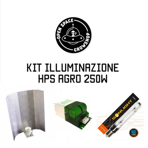 OPEN SPACE KIT ILLUMINAZIONE HPS CON BULBO AGRO 250W ACCENDITORE E RIFLETTORE LONG GLOSS