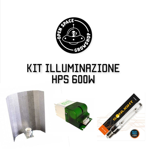 kit illuminazione hps 600w agro per la coltivazione indoor compreso di riflettore in metallo long gloss accenditore green power e bulbo sonlight indoor easy