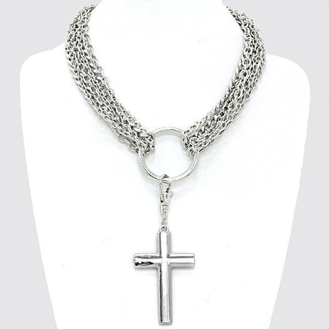 Jn - Chain Layered Metal Cross Necklace