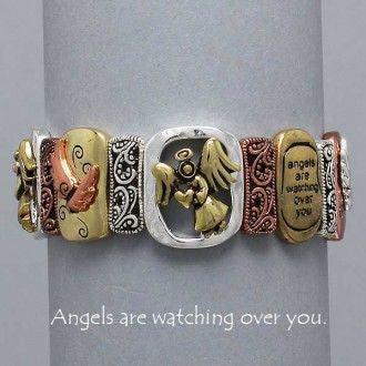 J - Angels Are Watching Over You Tri-tone Bracelet