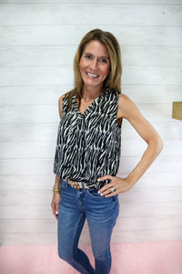 Animal Print Satin Top