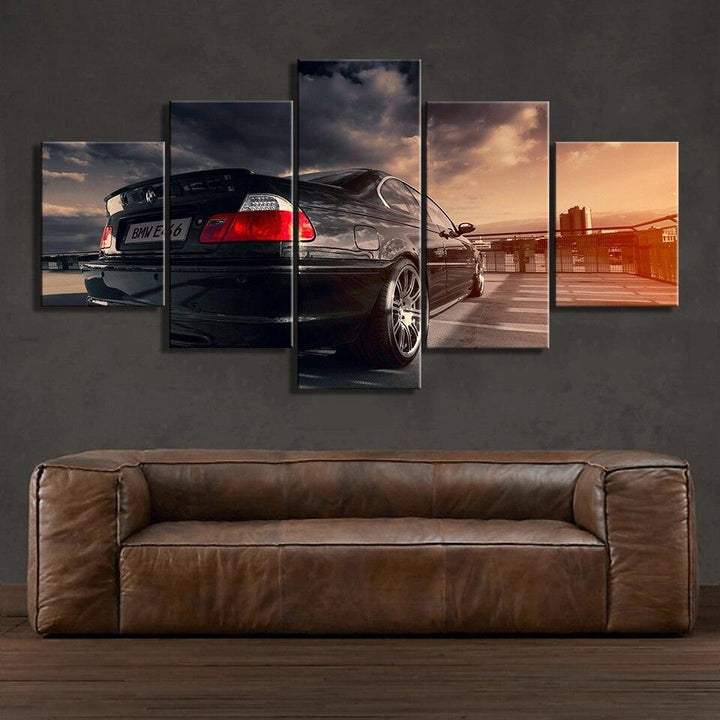 Loftdeco 1704 5 Panel BMW E46 Sports Car Painting Home Decor For Living Room Picture Wall Art Canvas Modern Modular Artwork toile peinture decoration  art moderne  popart
