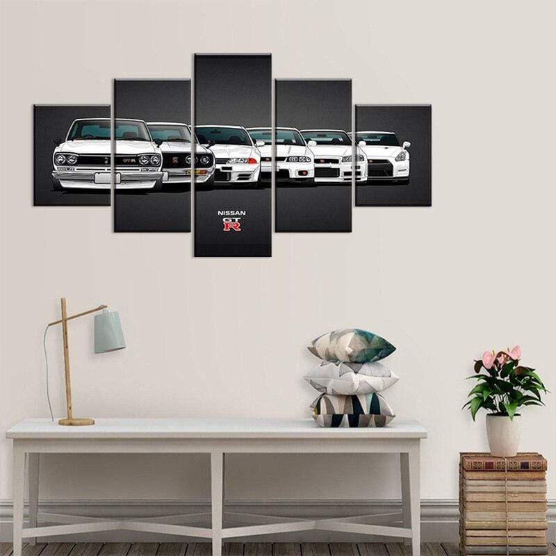 Loftdeco 1704 5 Pieces Canvas Painting Nissan Skyline GTR Car Poster Painting Wall Art Home Living Room Decor Unframed toile peinture decoration  art moderne  popart