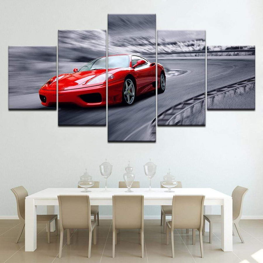 Loftdeco 1704 Artwork High Grade Red Sports Car Poster Home Decor Wall Art 5 Piece Picture Racing Car Canvas Painting HD Print Frame wallpaper toile peinture decoration  art moderne  popart