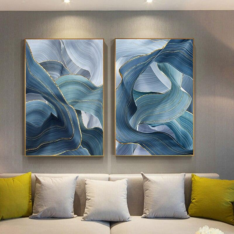 Loftdeco 1704 Blue Green Gold Lines Wavy Geometric Poster New Chinese Canvas Print Painting Contemporary Wall Art Home Decoration Picture toile peinture decoration  art moderne  popart
