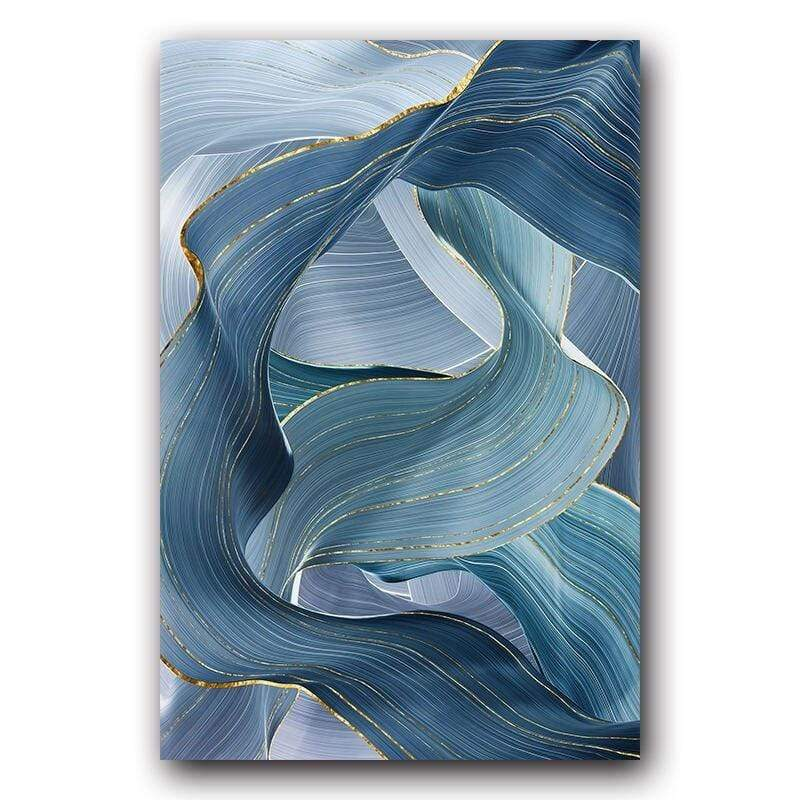 Loftdeco 1704 13x18cm No Frame / BW0098-1 Blue Green Gold Lines Wavy Geometric Poster New Chinese Canvas Print Painting Contemporary Wall Art Home Decoration Picture toile peinture decoration  art moderne  popart