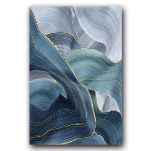 Loftdeco 1704 13x18cm No Frame / BW0098-2 Blue Green Gold Lines Wavy Geometric Poster New Chinese Canvas Print Painting Contemporary Wall Art Home Decoration Picture toile peinture decoration  art moderne  popart
