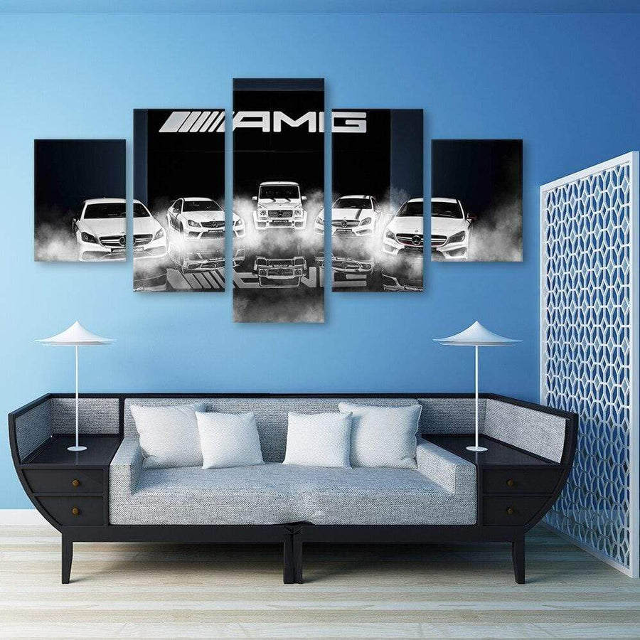 Loftdeco 1704 Canvas Ben z car 5 Piece Pictures Sports Car Off-Road Vehicle Wall Art Pictures for Living Room Posters Home Decoration painting toile peinture decoration  art moderne  popart