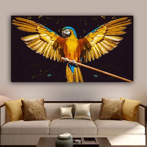 Loftdeco 1704 Gold Parrot Bird Animal Posters And Prints Canvas Painting Home Decor Wall Art For Living Room Decoration Pictures For Home toile peinture decoration  art moderne  popart