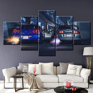Loftdeco 1704 HD canvas printed painting 5 piece wall art Framework GTR R34 VS Supra Vehicle Home decor Poster Picture For Living Room NL001 toile peinture decoration  art moderne  popart