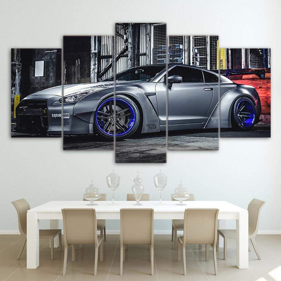 Loftdeco 1704 Modular Pictures Living Room Wall Art Canvas Sports Car Poster Decor 5 Pieces NISSAN GTR R35 5 Painting HD Printed Photo Framed toile peinture decoration  art moderne  popart
