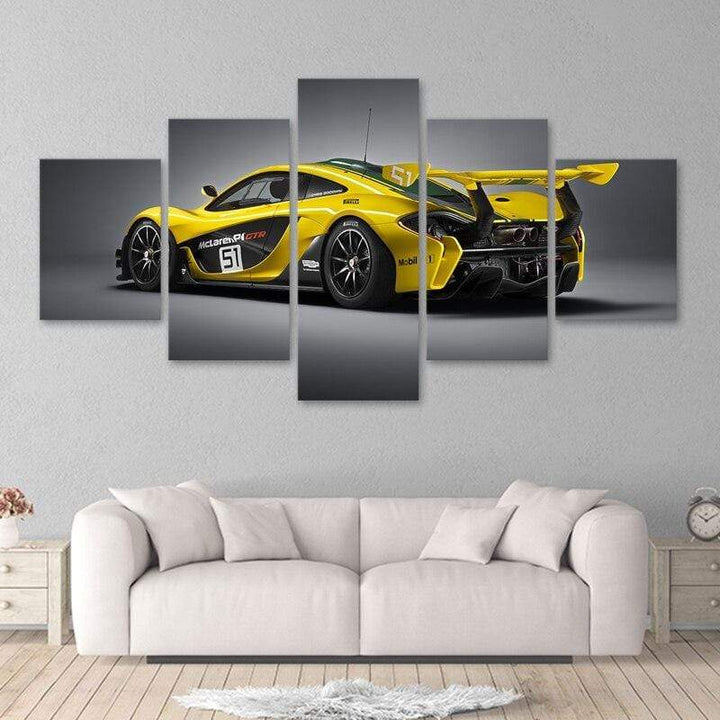 Loftdeco 1704 Modular Poster Wall Art Canvas HD Printed Picture 5 Pieces yellow Luxury Sports Car Painting Modern Living Room Home Decor Frame toile peinture decoration  art moderne  popart