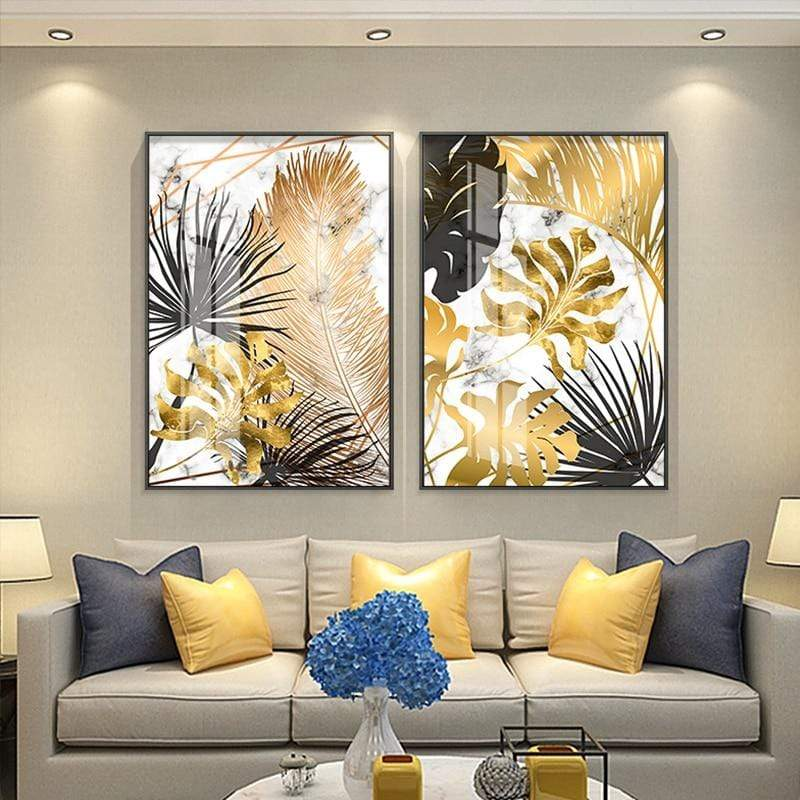 Loftdeco 1704 Nordic plants Golden leaf canvas painting posters and print wall art pictures for living room bedroom dinning room modern decor toile peinture decoration  art moderne  popart