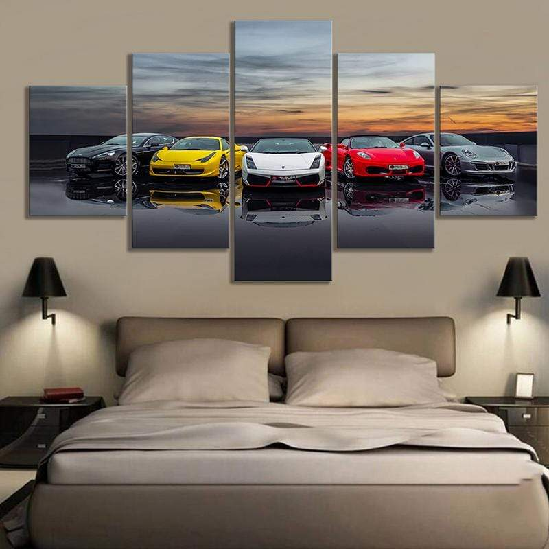 Loftdeco 1704 Prints Poster Home Decoration Canvas Painting 5 Panels Luxury Cars Hang Pictures Modular Wall Artwork For Boys Room Framework toile peinture decoration  art moderne  popart