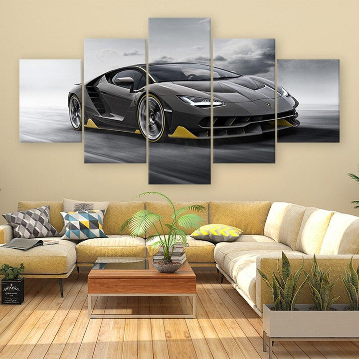 Loftdeco 1704 Sports Car Aventador Poster 5 Pieces Canvas Paintings Sport Car HD Prints Wall Art Living Room Home Decor Frame Pictures Module toile peinture decoration  art moderne  popart