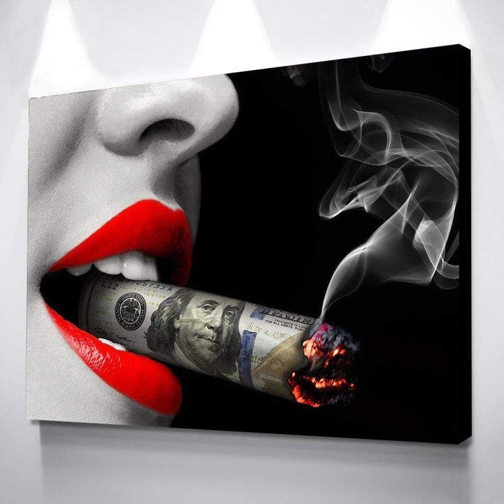 Loftdeco 1704 TABLEAU - MONEY SMOKING toile peinture decoration  art moderne  popart
