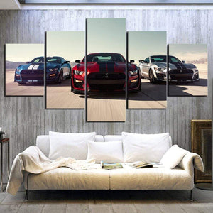 Loftdeco 1704 Wall Art Modular Pictures Canvas Printed 5 Panel Luxury Cars Ford Mustang Shelby Gt500 Home Decor Posters Painting Living Room toile peinture decoration  art moderne  popart