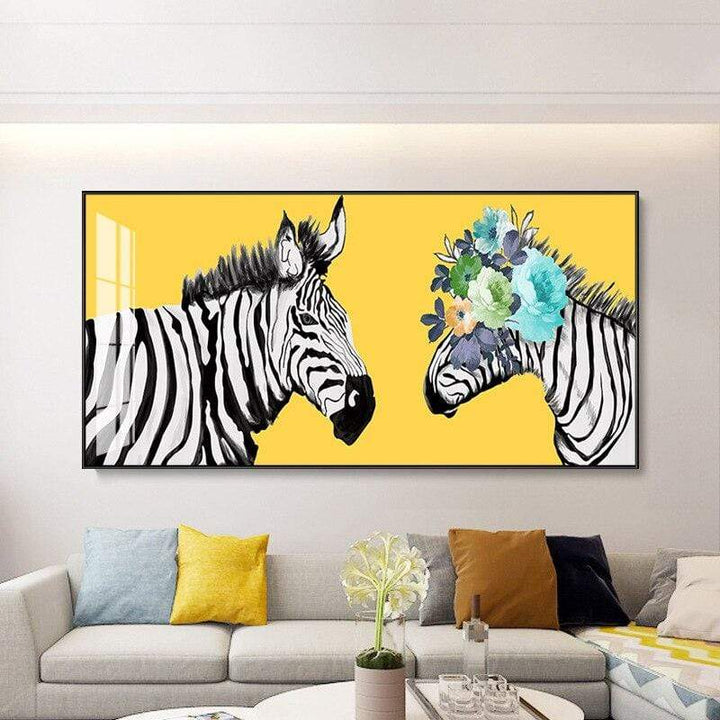 Loftdeco 1704 Yellow Zebra Couples with flowers Canvas Painting Modern Print Poster Animal Wall Art For Living Room Bedroom Decor Abstract toile peinture decoration  art moderne  popart