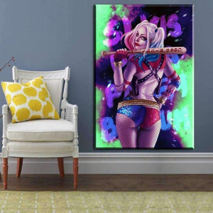 RUEDESTABLEAUX.COM Tableau Marvel Dc Comics 40x60cm Tableau Marvel Comics Beautiful Harley Quinn toile peinture decoration  art moderne  popart