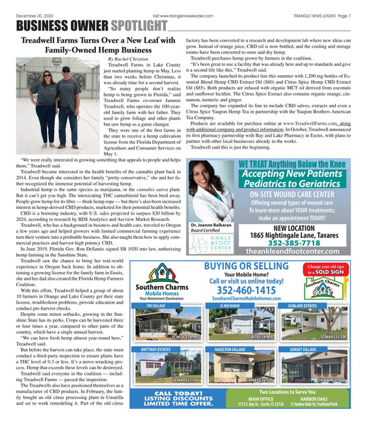 Triangle News Leader article about Treadwell Farms