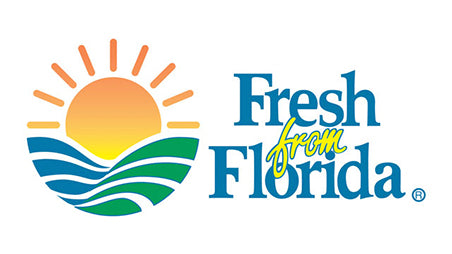 Fresh From Florida logo, a sunrise over blue and green swoosh with Fresh from Florida in text to right.