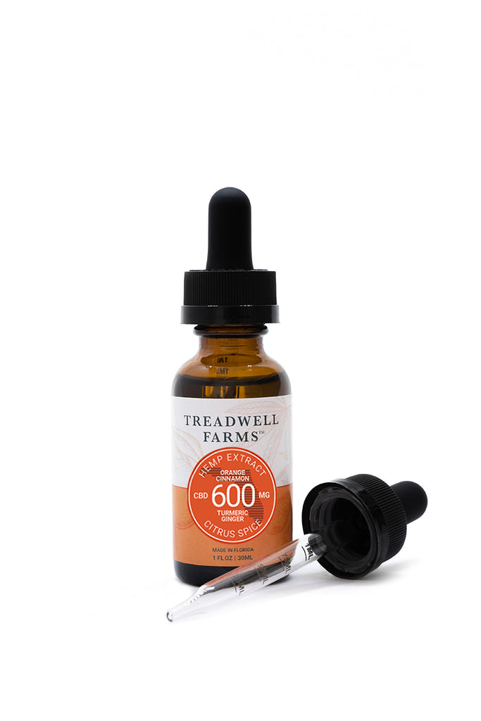Treadwell Farms 600 mg high potency Citrus Spice CBD hemp oil tincture bottle and dosage measurement dropper.