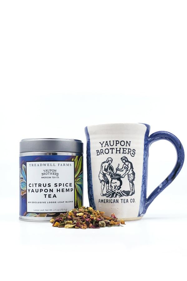 2.5 oz canister of Citrus Spice Yaupon antioxidant-rich loose leaf tea and Yaupon mug.