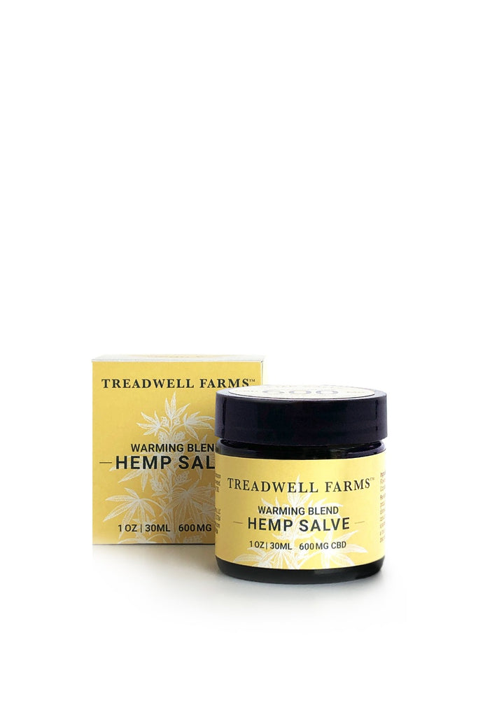 Treadwell Farms jar of 1 oz 600 mg CBD Warming Blend Hemp Salve with box