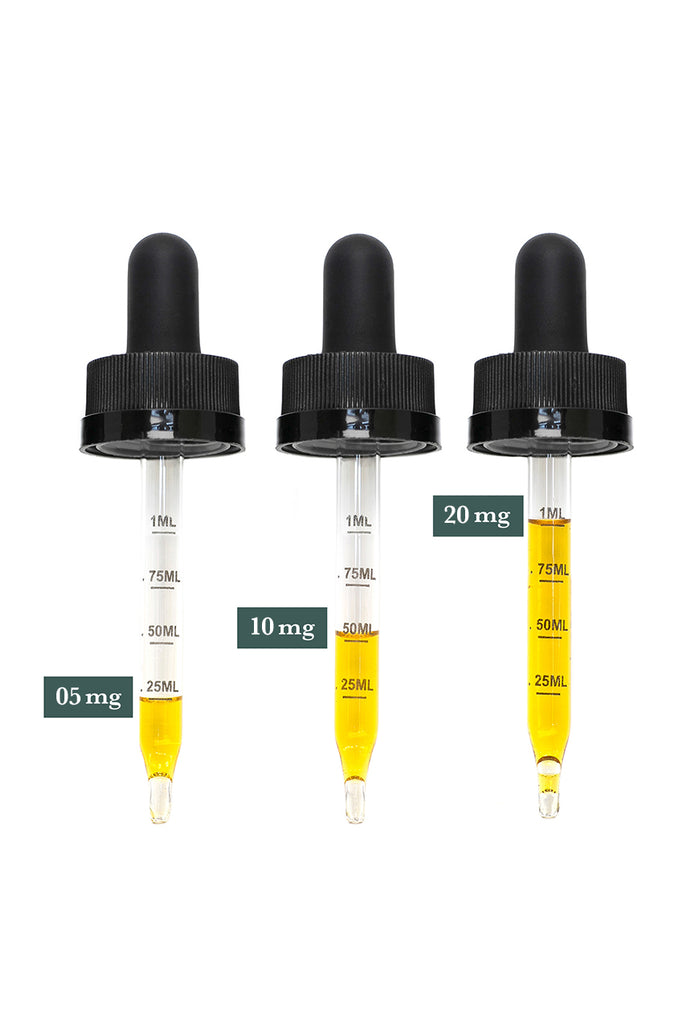 Treadwell Farms Citrus Spice CBD Hemp Extract droppers come with .25mL, .50mL, .75mL, and 1mL measurements to help manage your dosage intake.