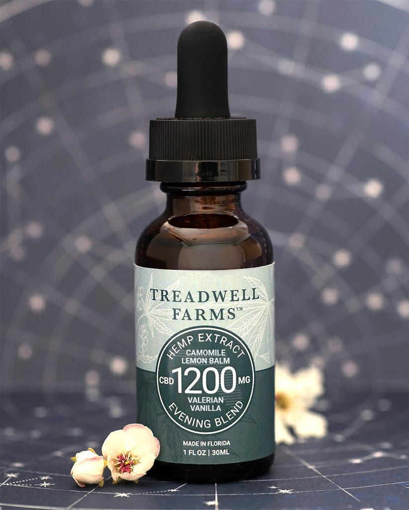 Treadwell Farms Evening Blend Hemp Extract is made of pure organic CBD Hemp Extract, Sunflower Lecithin, Organic MCT Oil (Coconut Oil) and medicinal botanicals that promote relaxation and encourage a restful sleep