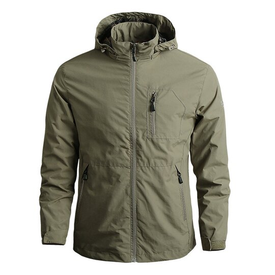 Zipper solid color hooded waterproof jacket coat