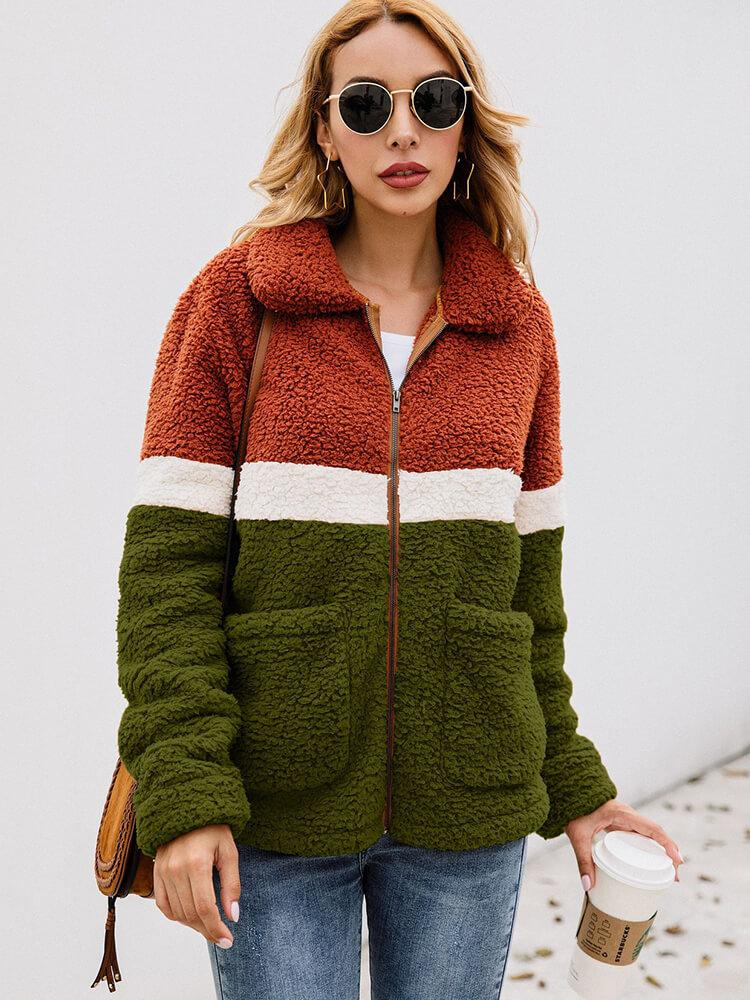 Long Sleeve Color Block Zipper Coat