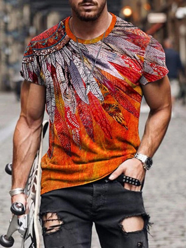 Men's Feather Totem Painting Print T-shirt
