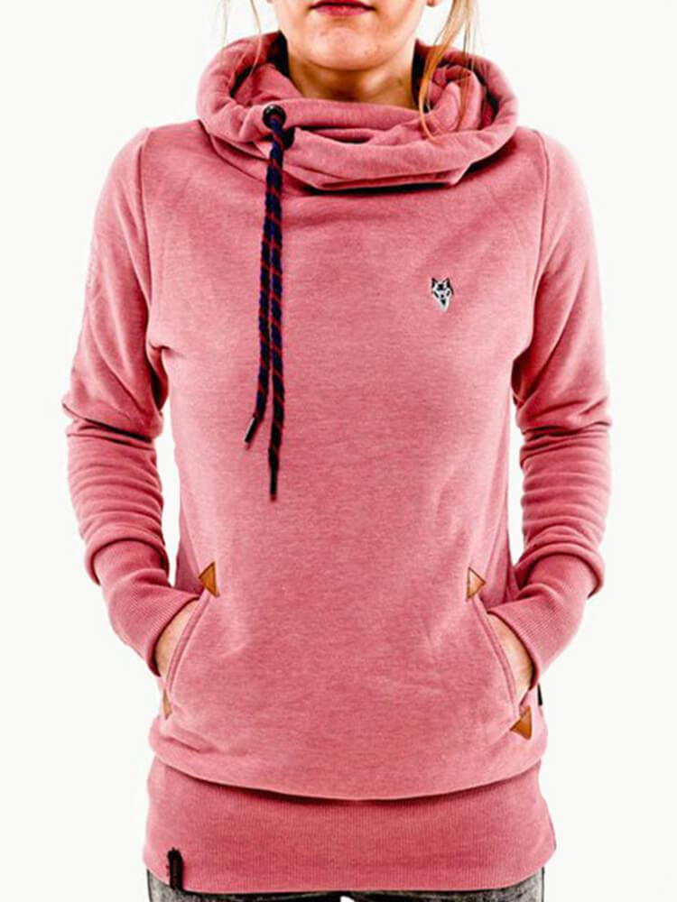 Cowl Neck Sport Casual Drawstring Hoodies