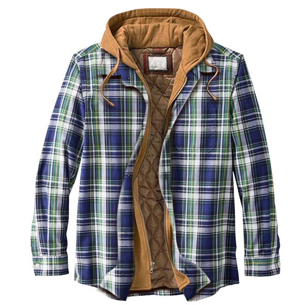 Men's casual basic plaid padded hooded shirt jacket