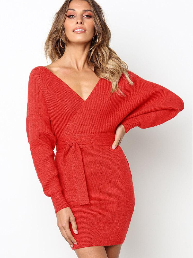 Deep V Open Back Knitted Dress