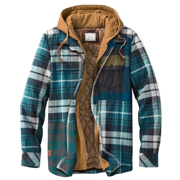 Men's casual basic stitching plaid thick hooded shirt jacket