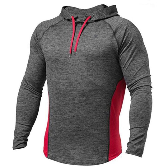 Outdoor fitness contrast color drawstring hoodie