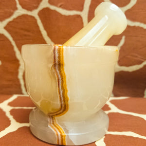 Pakistanding in the Light: Banded Onyx Mortar & Pestle from Pakistan